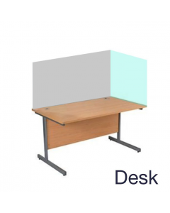 Wooden desk with two-sided clear acrylic screen
