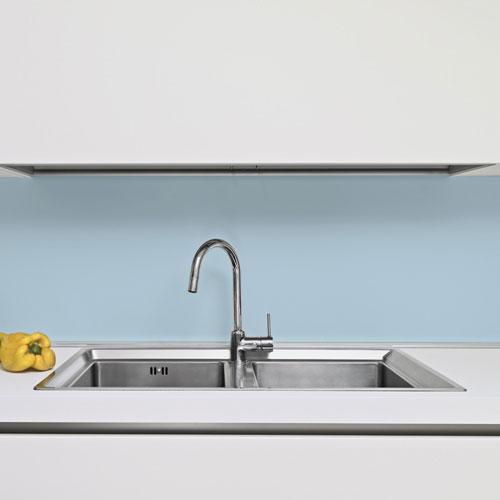 6mm Baby Blue Glass Splashback Kitchen