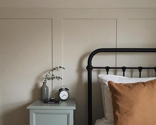 Wall panelling in bedroom